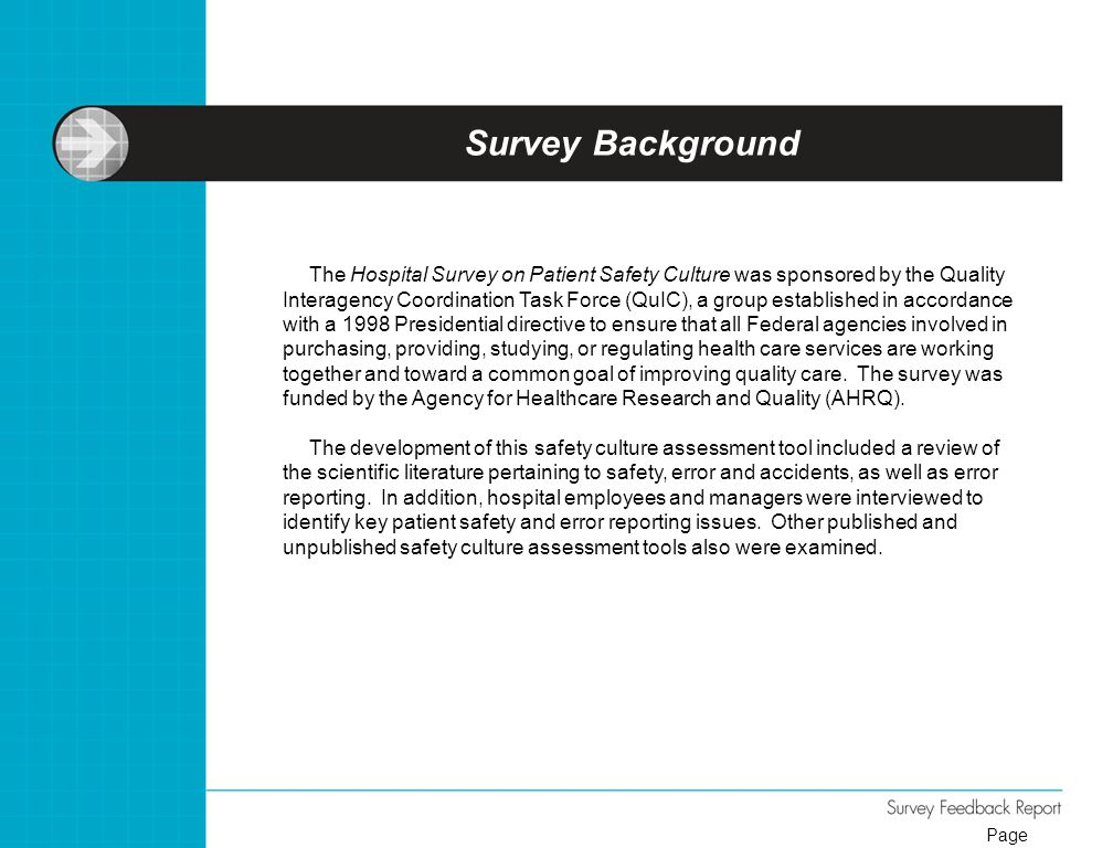 Survey Background The Hospital Survey on Patient Safety Culture was sponsored by the Quality Interagency Coordination Task Force (QuIC), a group estab