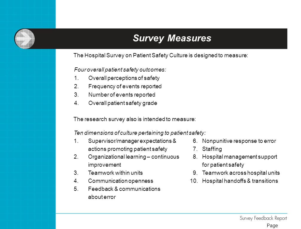 Survey Measures Four overall patient safety outcomes: 1.Overall perceptions of safety 2.Frequency of events reported 3.Number of events reported 4.Ove