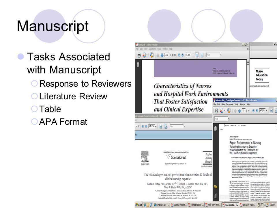 Manuscript Tasks Associated with Manuscript  Response to Reviewers  Literature Review  Table  APA Format