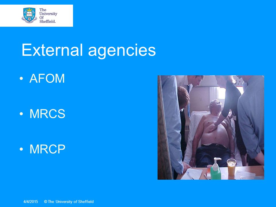 4/4/2015© The University of Sheffield AFOM MRCS MRCP External agencies
