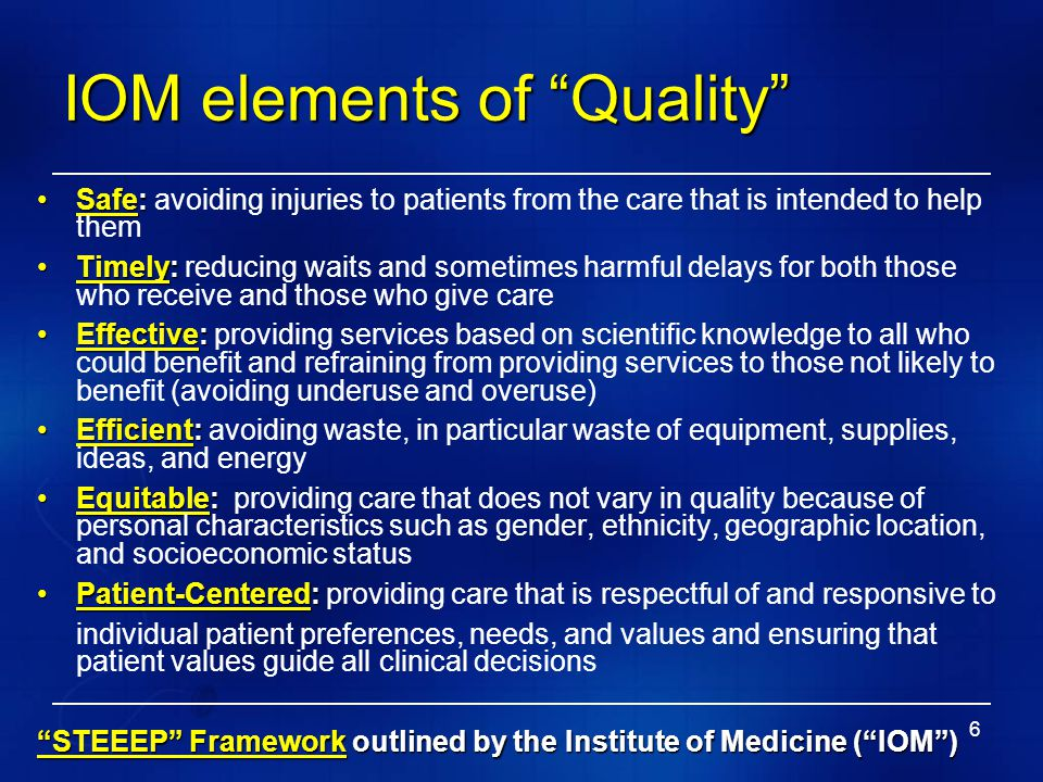 """6 IOM elements of """"Quality"""" Safe:Safe: avoiding injuries to patients from the care that is intended to help them Timely:Timely: reducing waits and som"""