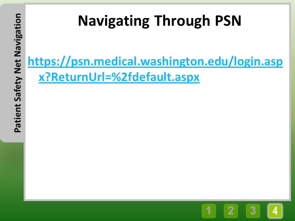4 321 Patient Safety Net Navigation Navigating Through PSN https://psn.medical.washington.edu/login.asp x?ReturnUrl=%2fdefault.aspx