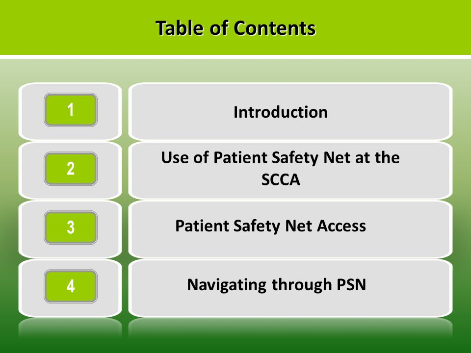 1 2 3 4 Introduction Use of Patient Safety Net at the SCCA Patient Safety Net Access Navigating through PSN Table of Contents