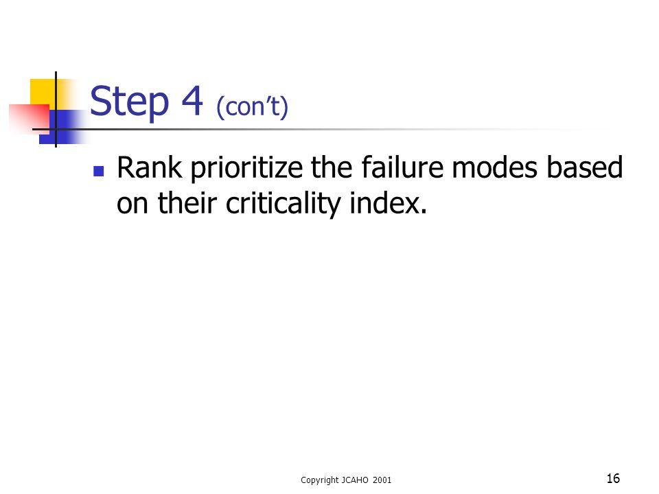 Copyright JCAHO 2001 16 Step 4 (con't) Rank prioritize the failure modes based on their criticality index.