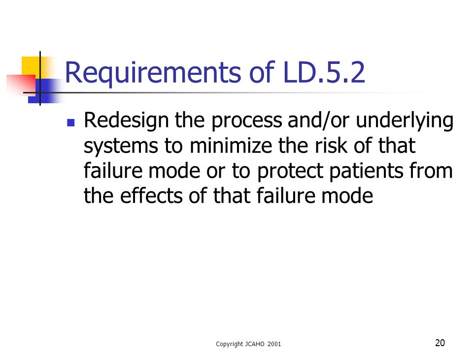 Copyright JCAHO 2001 20 Requirements of LD.5.2 Redesign the process and/or underlying systems to minimize the risk of that failure mode or to protect