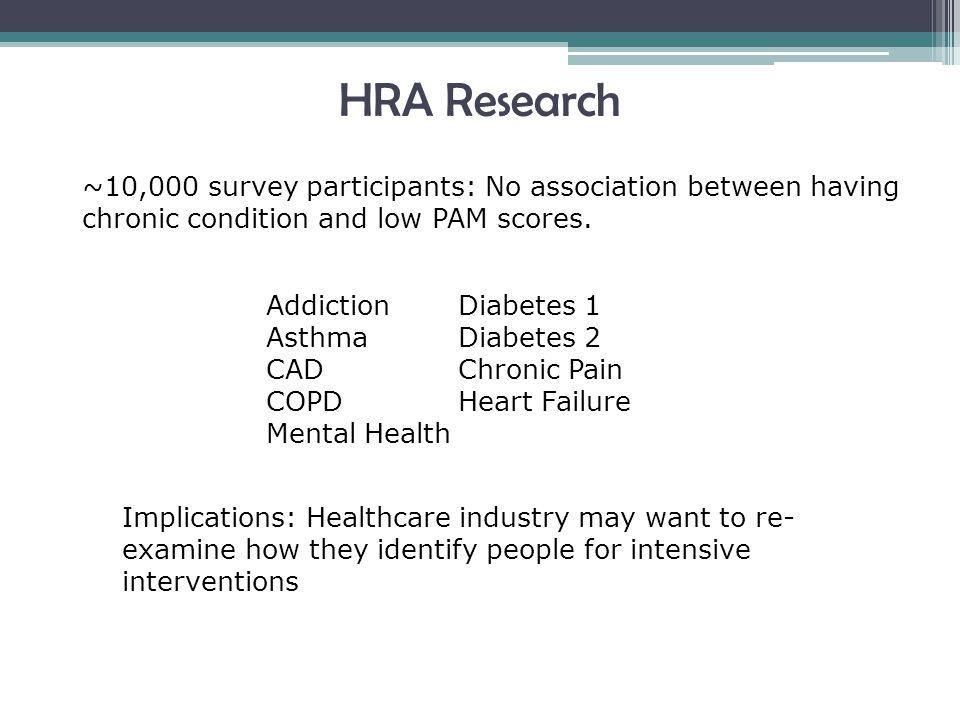 Addiction Diabetes 1 Asthma Diabetes 2 CAD Chronic Pain COPD Heart Failure Mental Health ~10,000 survey participants: No association between having chronic condition and low PAM scores.