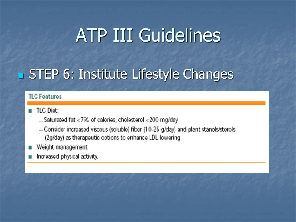 ATP III Guidelines STEP 6: Institute Lifestyle Changes STEP 6: Institute Lifestyle Changes