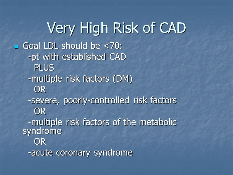 Very High Risk of CAD Goal LDL should be <70: Goal LDL should be <70: -pt with established CAD -pt with established CAD PLUS PLUS -multiple risk factors (DM) -multiple risk factors (DM) OR OR -severe, poorly-controlled risk factors -severe, poorly-controlled risk factors OR OR -multiple risk factors of the metabolic syndrome -multiple risk factors of the metabolic syndrome OR OR -acute coronary syndrome -acute coronary syndrome