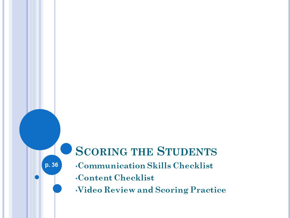 S CORING THE S TUDENTS Communication Skills Checklist Content Checklist Video Review and Scoring Practice p.