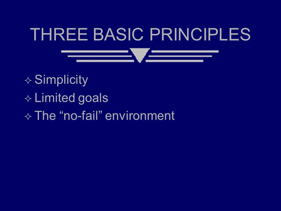"THREE BASIC PRINCIPLES  Simplicity  Limited goals  The ""no-fail"" environment"