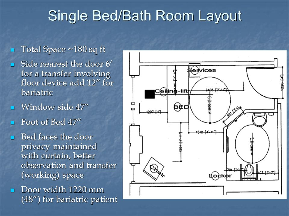 Single Bed/Bath Room Layout Total Space ~180 sq ft Total Space ~180 sq ft Side nearest the door 6' for a transfer involving floor device add 12 for bariatric Side nearest the door 6' for a transfer involving floor device add 12 for bariatric Window side 47 Window side 47 Foot of Bed 47 Foot of Bed 47 Bed faces the door privacy maintained with curtain, better observation and transfer (working) space Bed faces the door privacy maintained with curtain, better observation and transfer (working) space Door width 1220 mm (48 ) for bariatric patient Door width 1220 mm (48 ) for bariatric patient