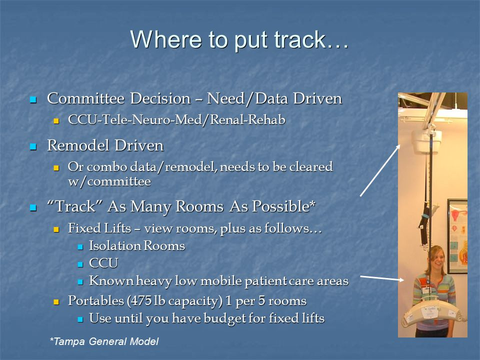 Where to put track… Committee Decision – Need/Data Driven Committee Decision – Need/Data Driven CCU-Tele-Neuro-Med/Renal-Rehab CCU-Tele-Neuro-Med/Renal-Rehab Remodel Driven Remodel Driven Or combo data/remodel, needs to be cleared w/committee Or combo data/remodel, needs to be cleared w/committee Track As Many Rooms As Possible* Track As Many Rooms As Possible* Fixed Lifts – view rooms, plus as follows… Fixed Lifts – view rooms, plus as follows… Isolation Rooms Isolation Rooms CCU CCU Known heavy low mobile patient care areas Known heavy low mobile patient care areas Portables (475 lb capacity) 1 per 5 rooms Portables (475 lb capacity) 1 per 5 rooms Use until you have budget for fixed lifts Use until you have budget for fixed lifts *Tampa General Model