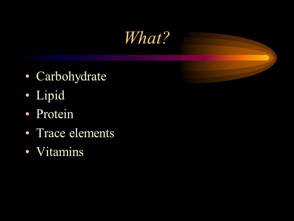What Carbohydrate Lipid Protein Trace elements Vitamins