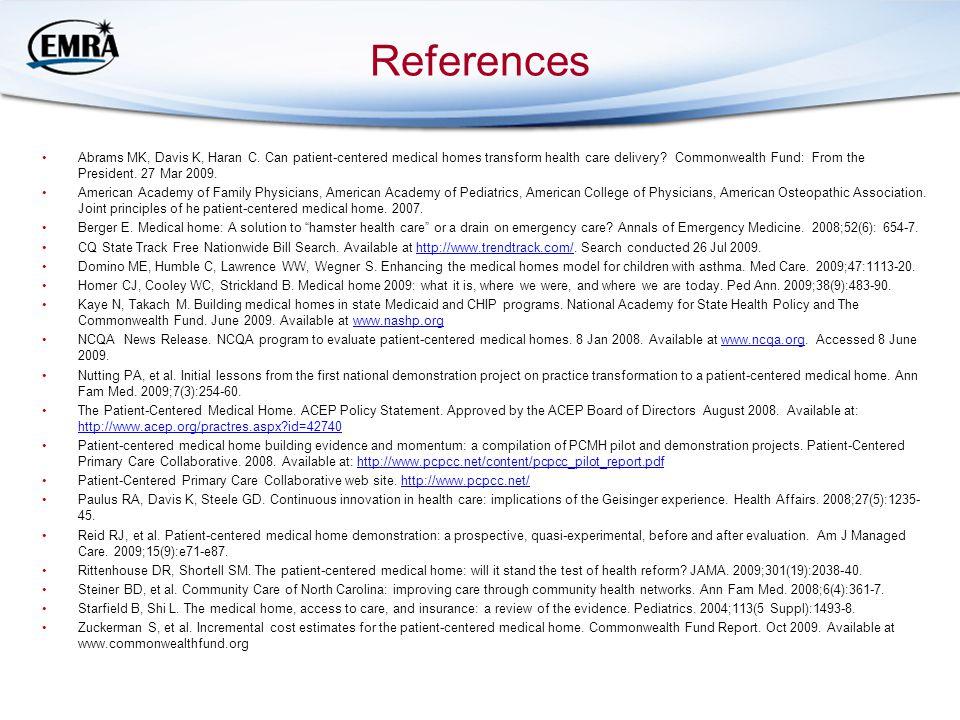References Abrams MK, Davis K, Haran C.