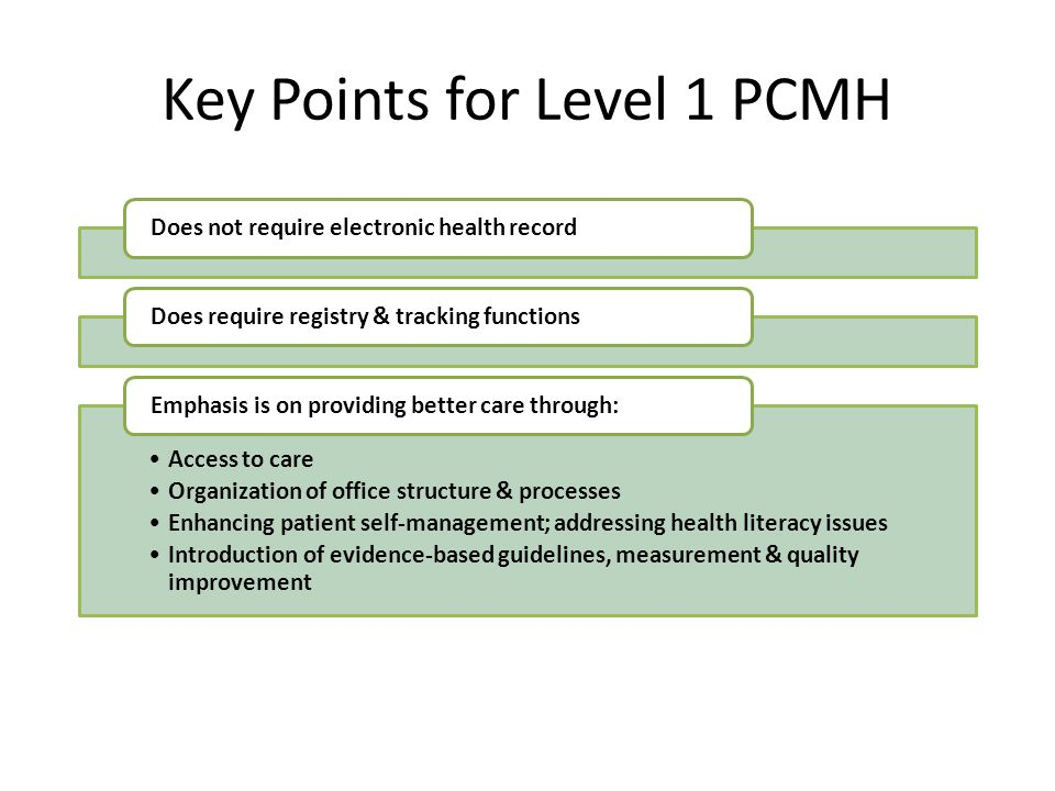 Key Points for Level 1 PCMH Does not require electronic health recordDoes require registry & tracking functions Access to care Organization of office
