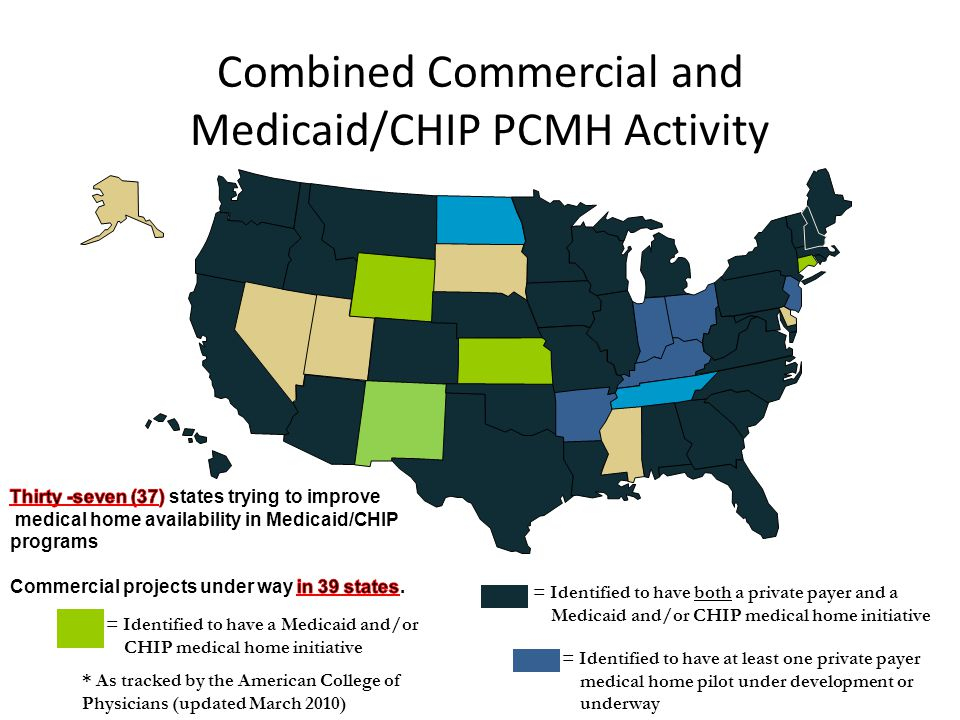 Combined Commercial and Medicaid/CHIP PCMH Activity = Identified to have at least one private payer medical home pilot under development or underway =