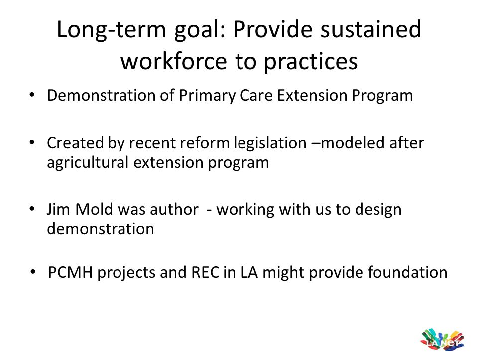 Demonstration of Primary Care Extension Program Created by recent reform legislation –modeled after agricultural extension program Jim Mold was author