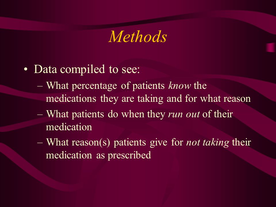 Methods Data compiled to see: –What percentage of patients know the medications they are taking and for what reason –What patients do when they run out of their medication –What reason(s) patients give for not taking their medication as prescribed