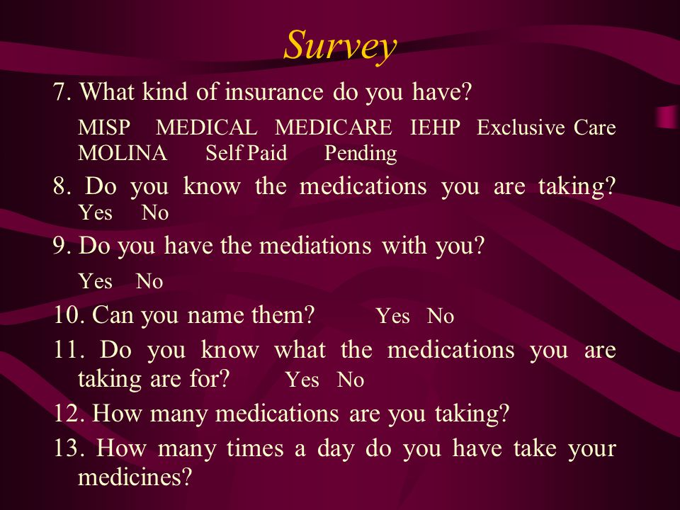 Survey 7. What kind of insurance do you have.