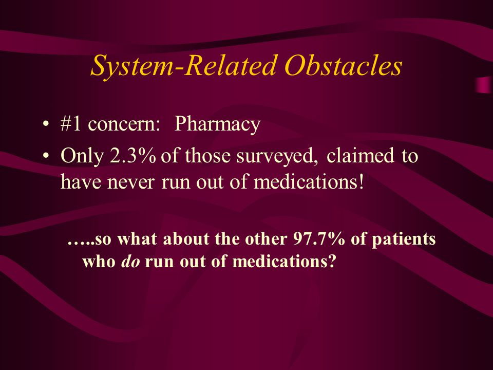 System-Related Obstacles #1 concern: Pharmacy Only 2.3% of those surveyed, claimed to have never run out of medications.