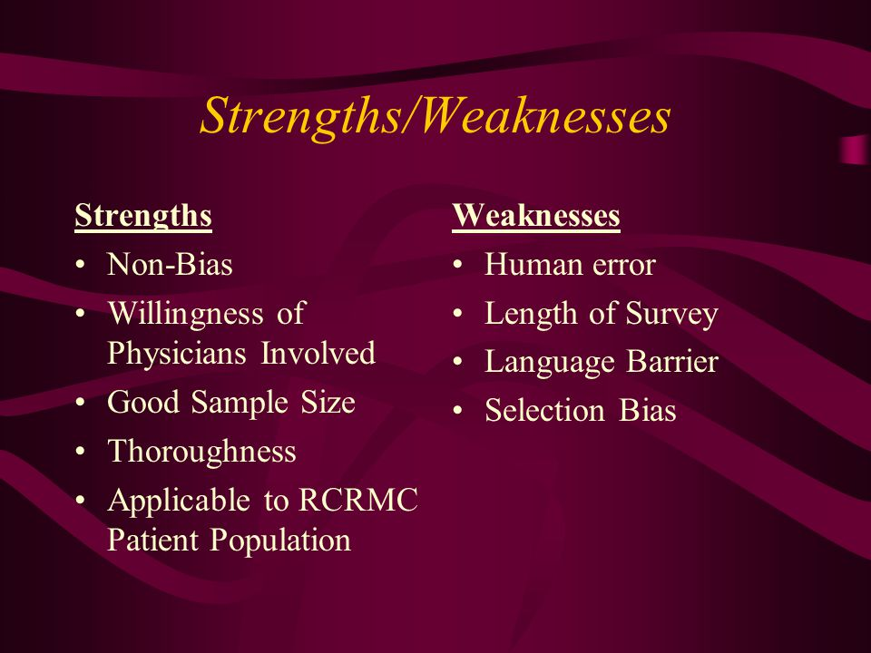 Strengths/Weaknesses Strengths Non-Bias Willingness of Physicians Involved Good Sample Size Thoroughness Applicable to RCRMC Patient Population Weakne