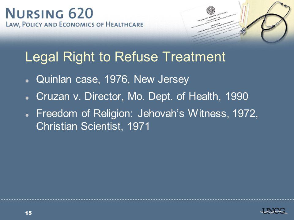 15 Legal Right to Refuse Treatment l Quinlan case, 1976, New Jersey l Cruzan v.