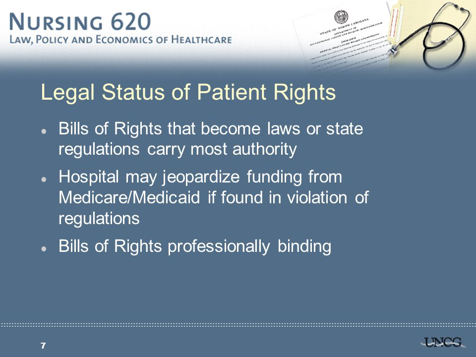 8 Informed Consent and the Law l Informed Consent: Information given to the patient regarding treatment and patient agreement to treatment l Standards for Informed Consent: Reasonable Doctor Standard Reasonable Patient Standard