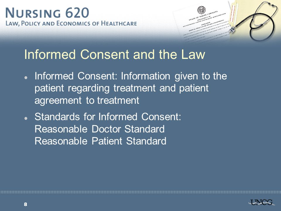 9 Informed Consent: Landmark Ruling l California Supreme Court, 1957 l Negligent nondisclosure l Ruling established basic rule: A doctor violates his duty to his patient and subjects himself to liability if he withholds any facts that are necessary to form basis of an intelligent consent