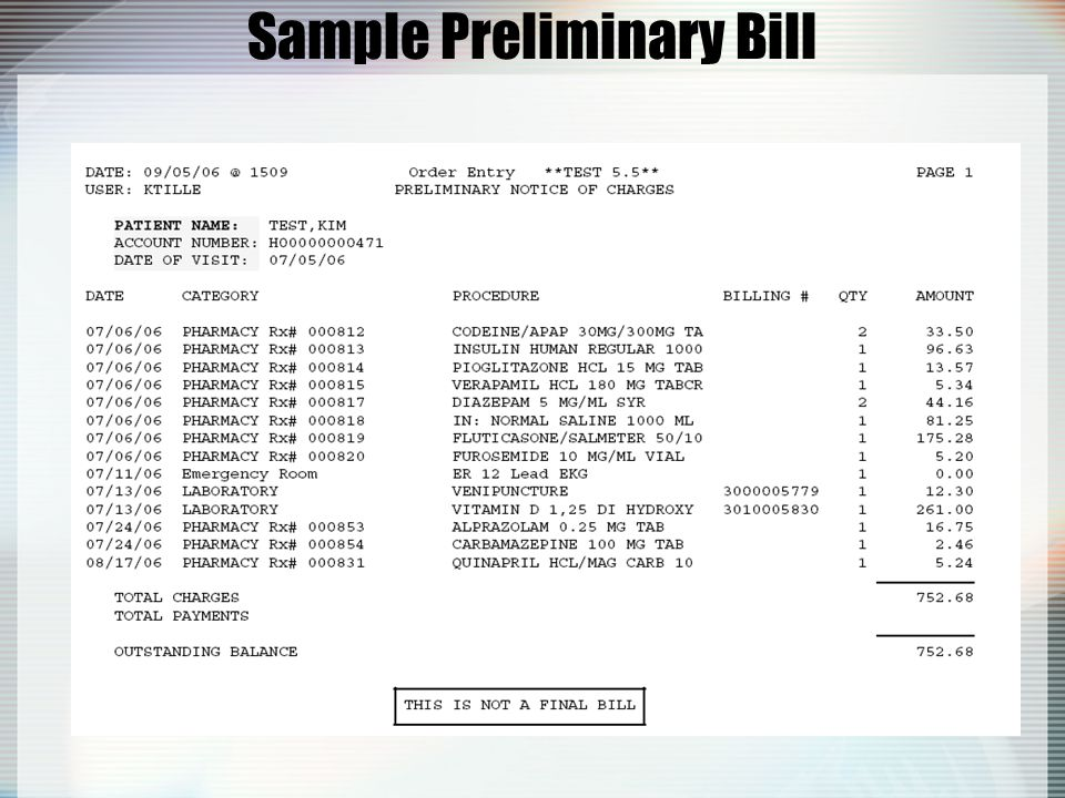 Sample Preliminary Bill