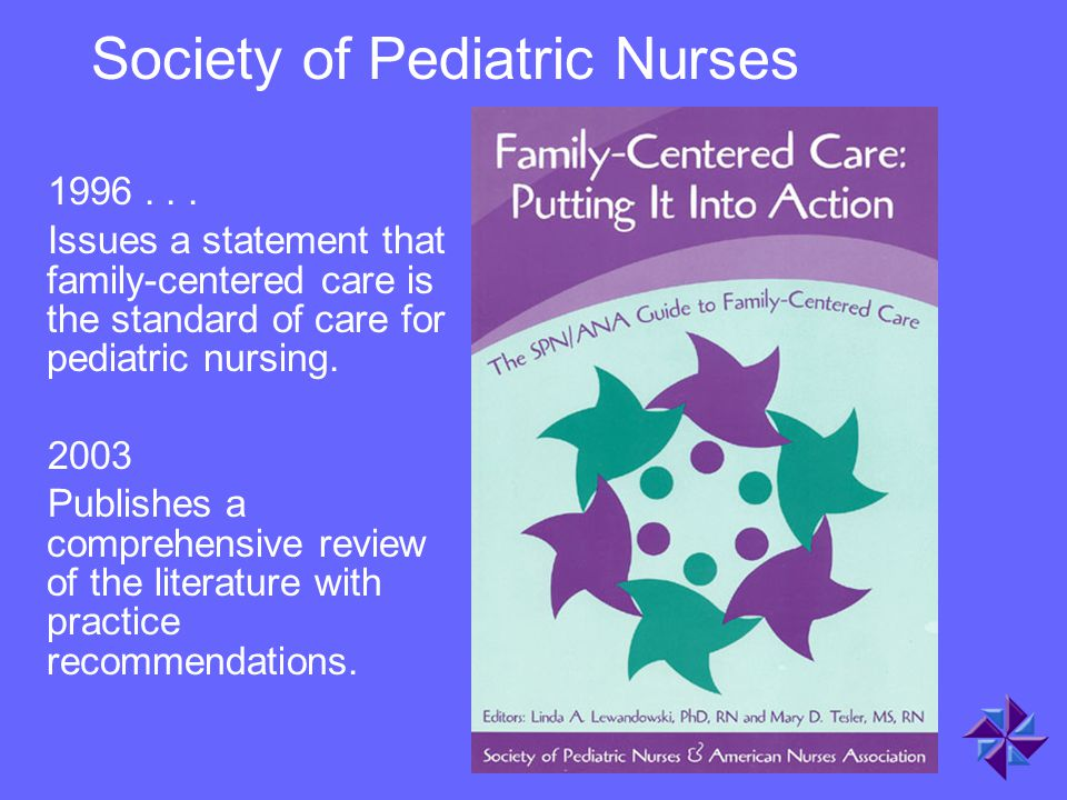 Society of Pediatric Nurses 1996... Issues a statement that family-centered care is the standard of care for pediatric nursing. 2003 Publishes a compr