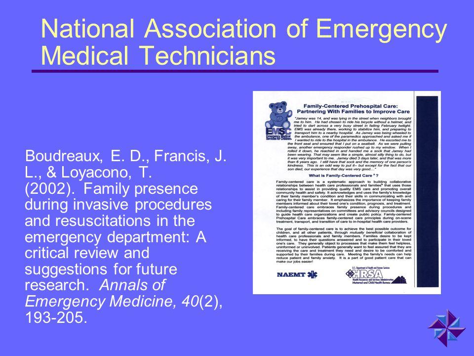 National Association of Emergency Medical Technicians Boudreaux, E.