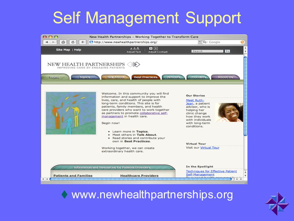 Self Management Support  www.newhealthpartnerships.org