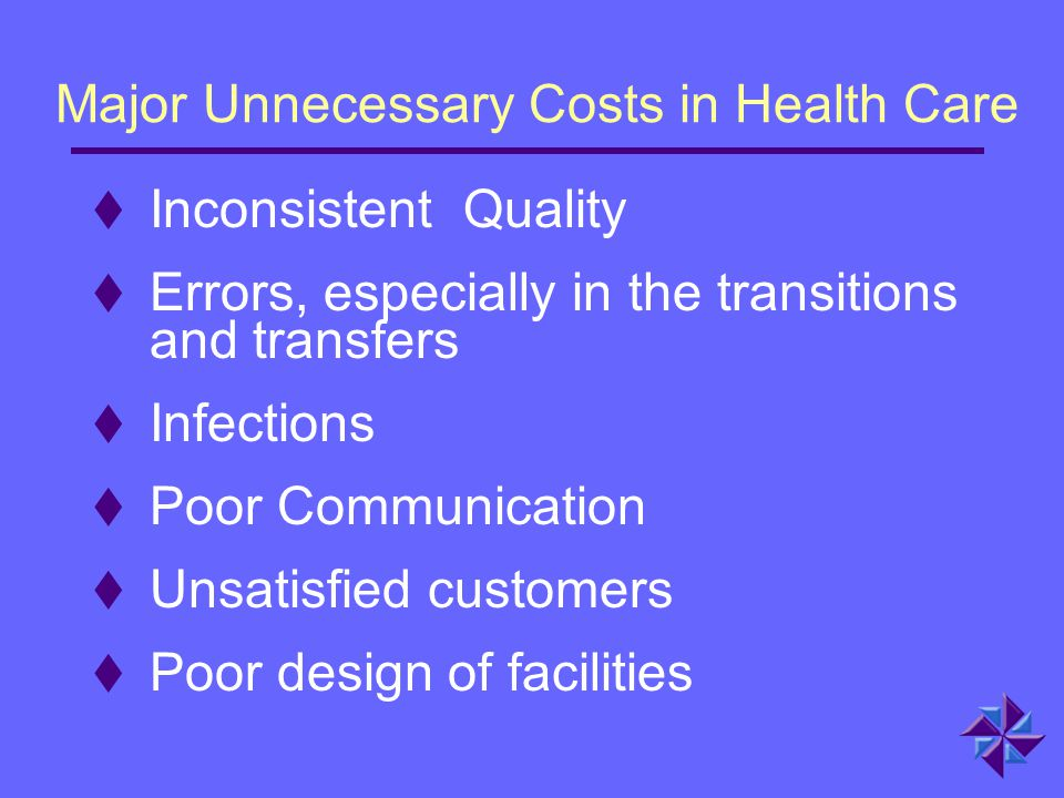 Major Unnecessary Costs in Health Care  Inconsistent Quality  Errors, especially in the transitions and transfers  Infections  Poor Communication