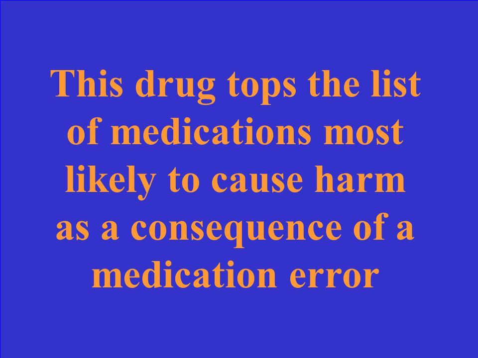 This drug tops the list of medications most likely to cause harm as a consequence of a medication error