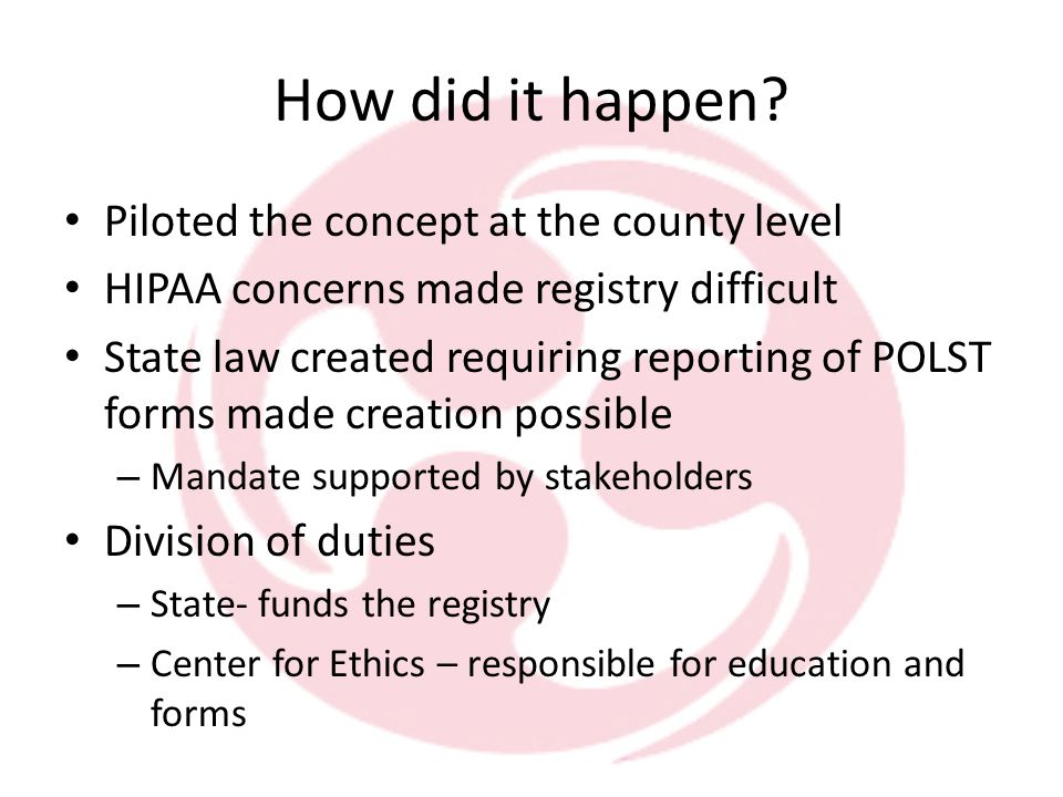 What is it. Secure electronic registry of POLST orders.