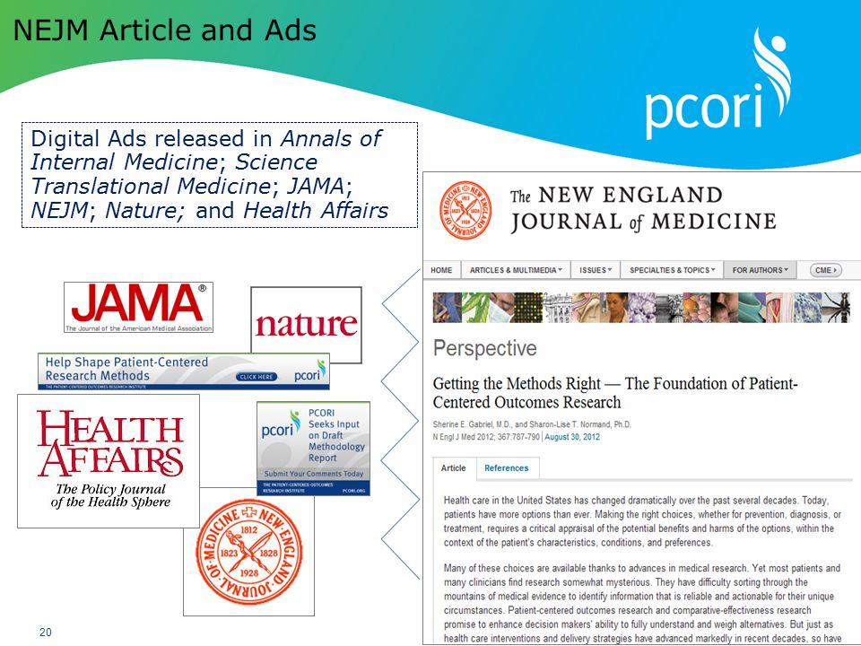 PATIENT-CENTERED OUTCOMES RESEARCH INSTITUTE 20 NEJM Article and Ads Digital Ads released in Annals of Internal Medicine; Science Translational Medici