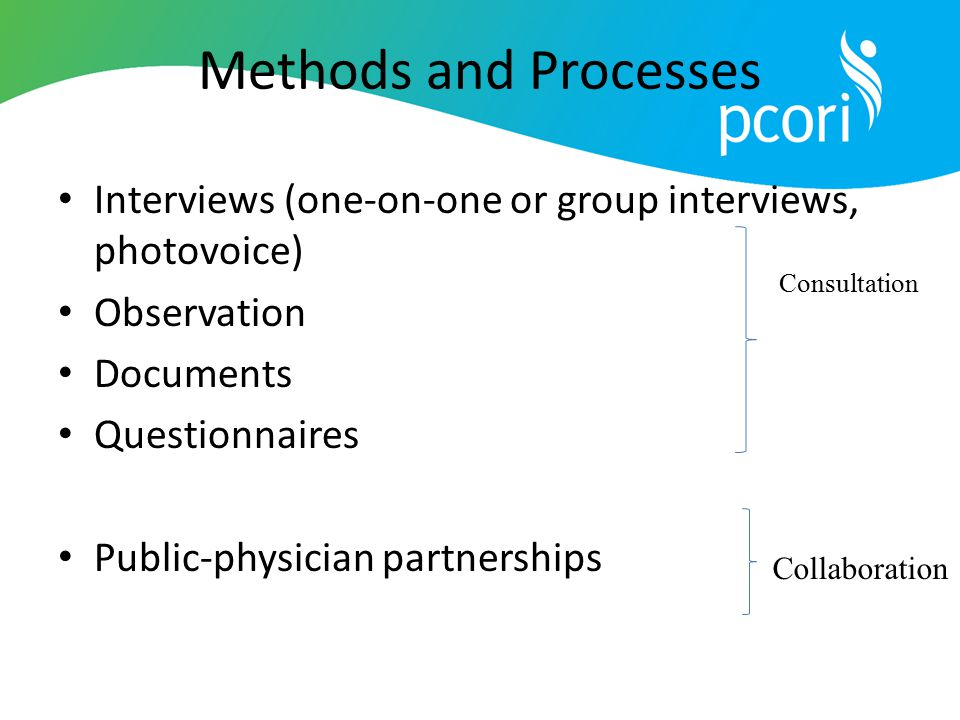 Methods and Processes Interviews (one-on-one or group interviews, photovoice) Observation Documents Questionnaires Public-physician partnerships Consu