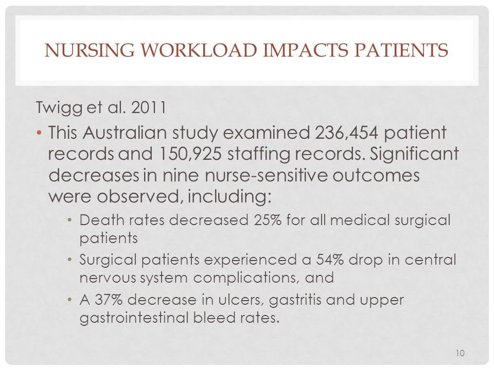 10 NURSING WORKLOAD IMPACTS PATIENTS Twigg et al. 2011 This Australian study examined 236,454 patient records and 150,925 staffing records. Significan