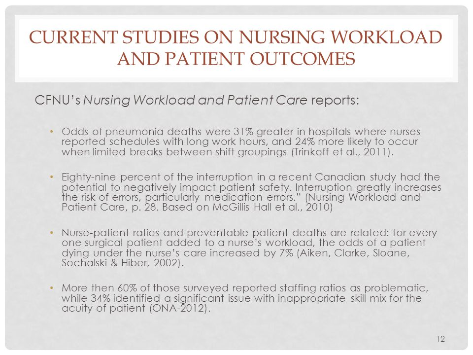 12 CURRENT STUDIES ON NURSING WORKLOAD AND PATIENT OUTCOMES CFNU's Nursing Workload and Patient Care reports: Odds of pneumonia deaths were 31% greate