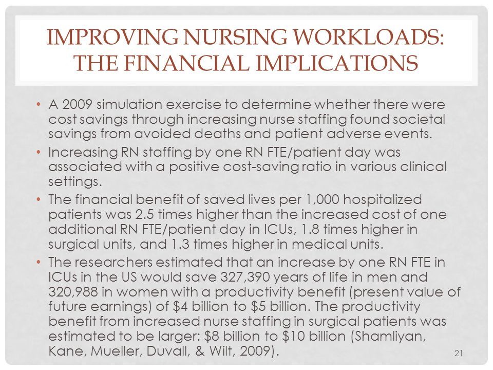 21 IMPROVING NURSING WORKLOADS: THE FINANCIAL IMPLICATIONS A 2009 simulation exercise to determine whether there were cost savings through increasing
