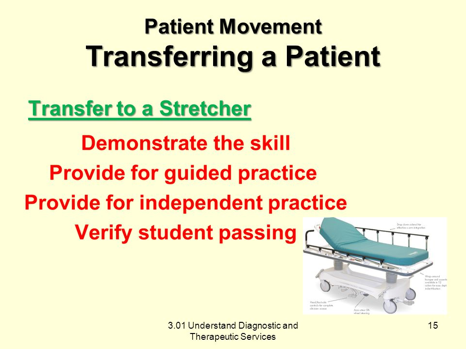 3.01 Understand Diagnostic and Therapeutic Services Patient Movement Transferring a Patient Transfer to a Stretcher 15
