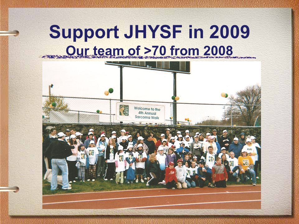 Support JHYSF in 2009 Our team of >70 from 2008