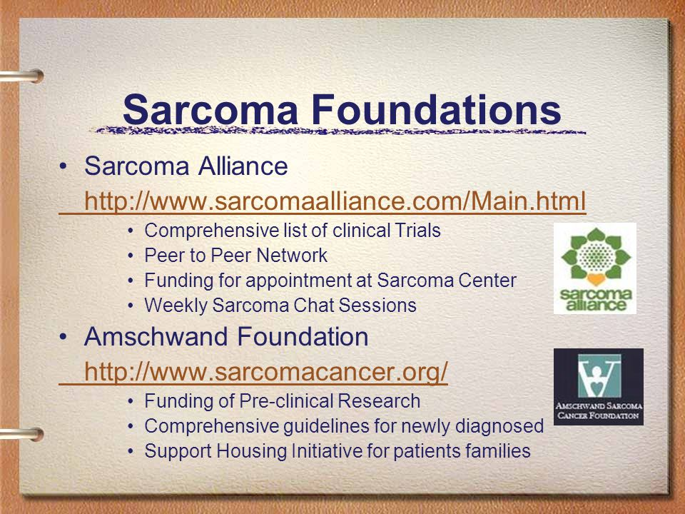 Sarcoma Foundations Sarcoma Alliance http://www.sarcomaalliance.com/Main.html Comprehensive list of clinical Trials Peer to Peer Network Funding for appointment at Sarcoma Center Weekly Sarcoma Chat Sessions Amschwand Foundation http://www.sarcomacancer.org/ Funding of Pre-clinical Research Comprehensive guidelines for newly diagnosed Support Housing Initiative for patients families
