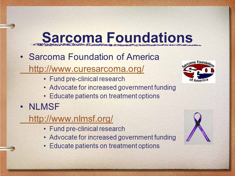 Sarcoma Foundations Sarcoma Foundation of America http://www.curesarcoma.org/ Fund pre-clinical research Advocate for increased government funding Educate patients on treatment options NLMSF http://www.nlmsf.org/ Fund pre-clinical research Advocate for increased government funding Educate patients on treatment options