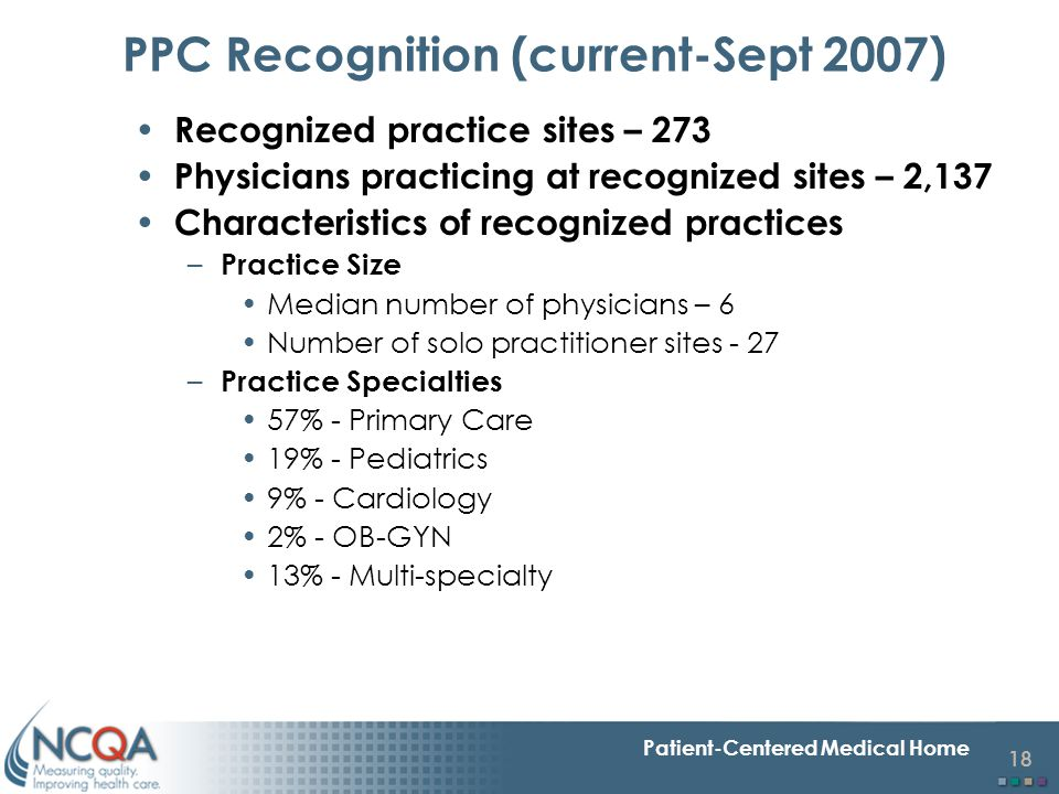 18 Patient-Centered Medical Home PPC Recognition (current-Sept 2007) Recognized practice sites – 273 Physicians practicing at recognized sites – 2,137