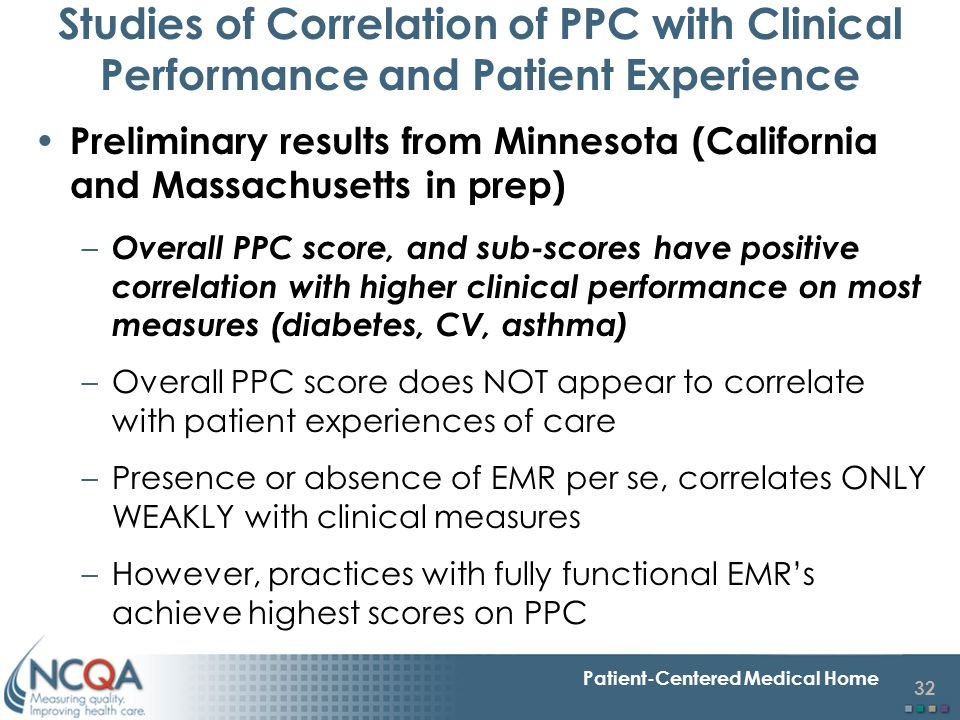 32 Patient-Centered Medical Home Studies of Correlation of PPC with Clinical Performance and Patient Experience Preliminary results from Minnesota (Ca