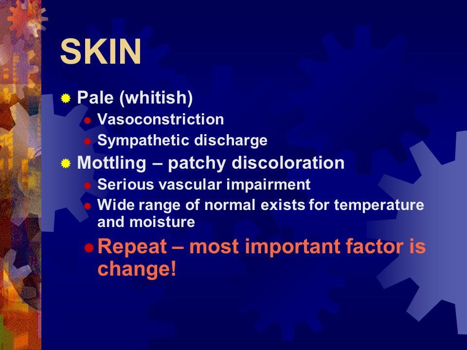 SKIN  Abnormal colors  Dusky/gray/blue – cyanosis  Lips, nail beds, mucous membranes  Cherry red  Carbon monoxide  Sallow (milk/yellow)  Anemia or blood loss  Yellow (Icteric)  Jaundice - liver Often noticed first in sclera