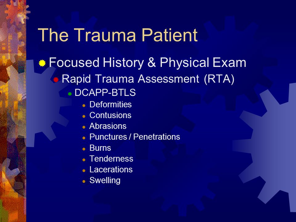 The Trauma Patient - Initial Review  Scene Size-up  MOI  What are the significant ones.