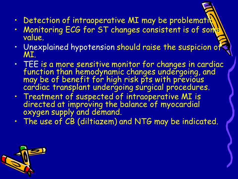 Detection of intraoperative MI may be problematic.