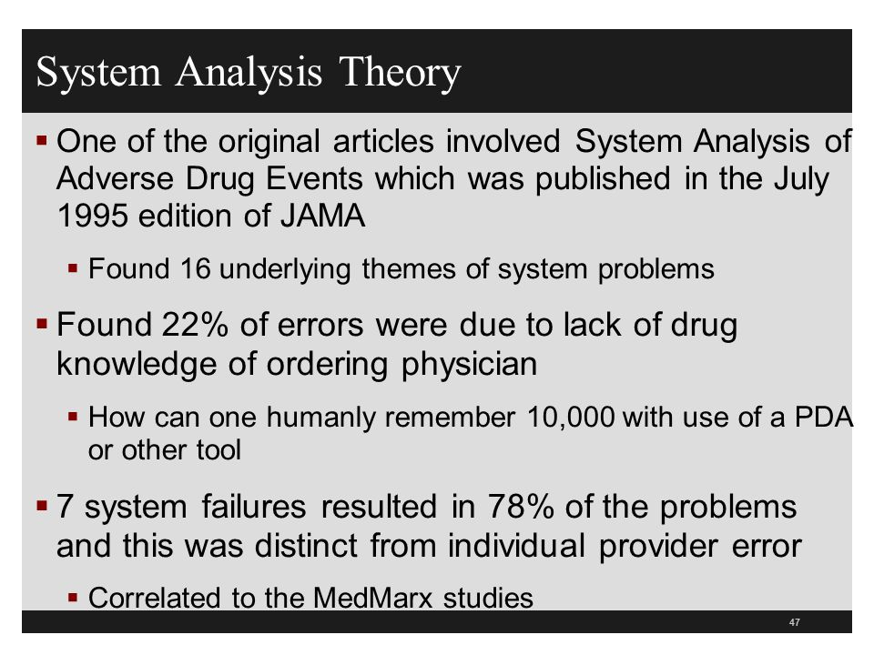 System Analysis Theory  One of the original articles involved System Analysis of Adverse Drug Events which was published in the July 1995 edition of